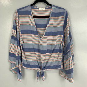 2 for $20 Lavender Field Striped Bell Sleeve Top